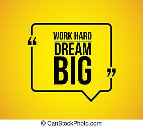 commentaire, travail, grand, dur, illustration, rêve
