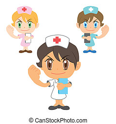 commentary by a nurse - Commentary by a cartoon nurse, three...