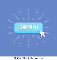 commento, affari, bottone, template., vettore, design., bandiera, simbolo, icona
