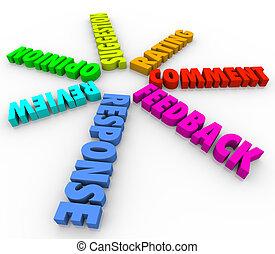 commento, feedback, modello, spirale, parole, opinione, 3d