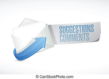 comments and suggestions email sign illustration design over...