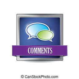 Comments blue button illustration design