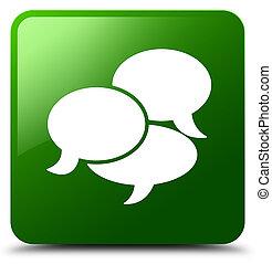 comments, bouton, icône, vert, carrée