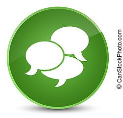 Comments icon elegant soft green round button