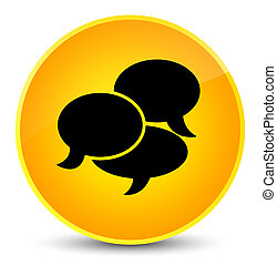 Comments icon elegant yellow round button