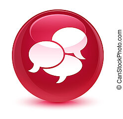 Comments icon glassy pink round button