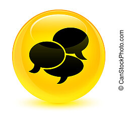 Comments icon glassy yellow round button