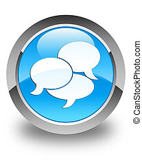 Comments icon glossy cyan blue round button