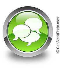 Comments icon glossy green round button