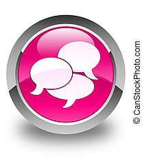 Comments icon glossy pink round button
