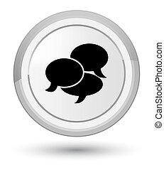 Comments icon prime white round button