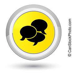 Comments icon prime yellow round button