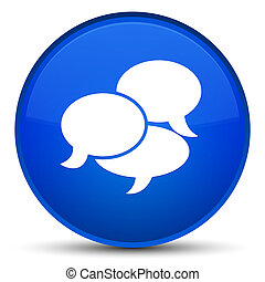 Comments icon special blue round button