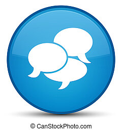 Comments icon special cyan blue round button