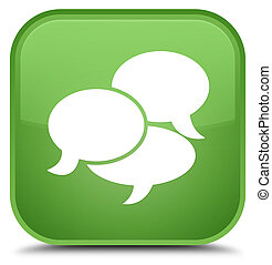 Comments icon special soft green square button