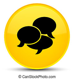 Comments icon special yellow round button