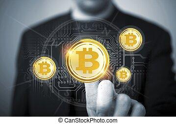 commerçant, concept, bitcoin