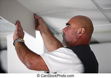 commerçant, drywall, installation