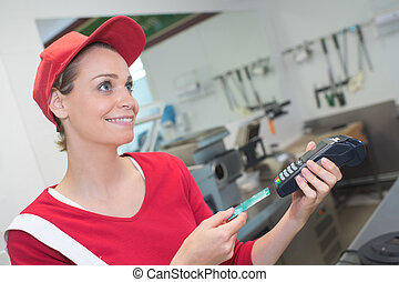 commerçant, insérer, machine, carte