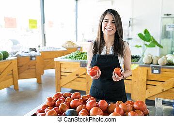 commerçant, magasin, légumes, vente, chemical-free
