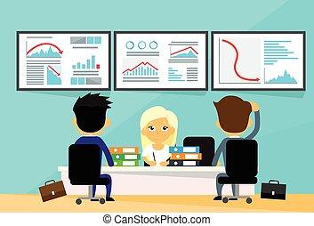 commerçants, financier, bureau affaires, gens, tendance, graphique, ordinateurs, négatif, bas, bureau, automne, crise, finance