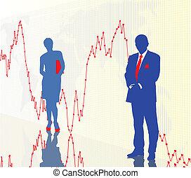 commerçants, graphique financier