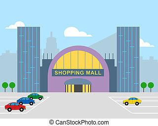commerce, achat vente détail, spectacles, centre commercial, illustration, 3d