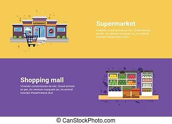 commerce, achats, toile, supermarché, centre commercial,...