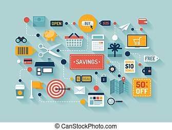 Flat design vector illustration concept with icons of retail commerce and marketing elements such as promotion, coupon, discount and various shopping and money economy sign and symbol. Isolated on stylish color background