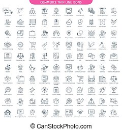 Commerce And Shopping big set - One Hundred Thin Line Icons ...