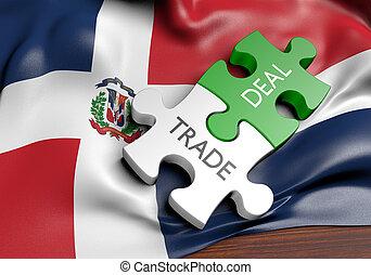 commerce, concept, dominicain, commercer, affaires, république, international