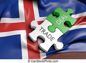 commerce, concept, islande, commercer, affaires, international