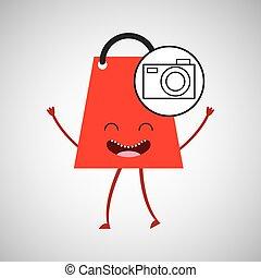 commerce, concept, sac à provisions, appareil photo, conception