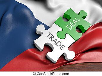 commerce, concept, tchèque, commercer, affaires, république, international