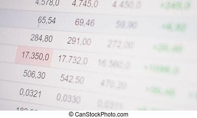 commerce, concept., trader., numérique, financier, professionnel, display., diagramme, global, échange, banque, lieu travail, marchés, stratégie commerciale