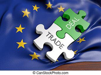commerce, concept, union, commercer, affaires, international, européen