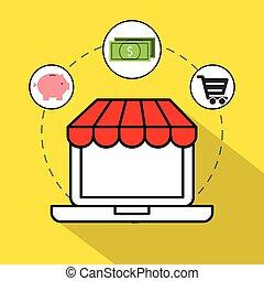 commerce, ensemble, électronique, plat, icônes