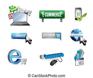 commerce, ensemble, affaires e, illustration, icône
