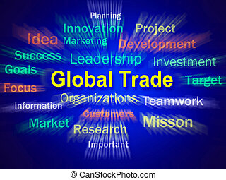 commerce global, planification, comm, affichages, international, idée génie