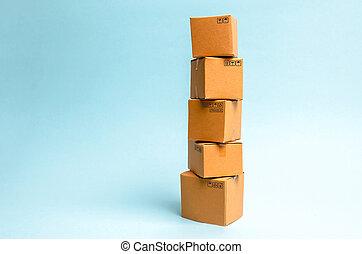 commerce, goods., boîtes, en mouvement, distribution, logistique, arrière-plan., sales., business, tour, carton, concept, livraison, marchandises, procédés, bleu