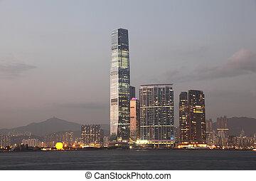 commerce, hong, carrée, gratte-ciel, centre, union, kong, ...