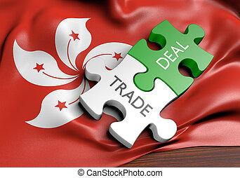 commerce, hong, concept, commercer, affaires, international, kong