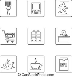Commerce icons set, outline style - Commerce icons set....