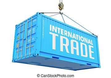 commerce international, -, bleu, pendre, cargaison, container.