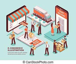 commerce, isométrique, concept, électronique, conception