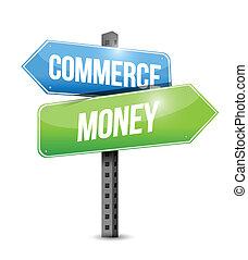commerce money road sign illustration design