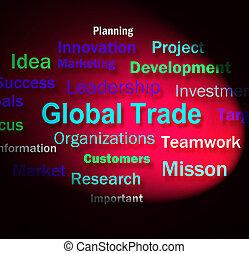 commerce, moyens, commerce global, planification, mots, ...
