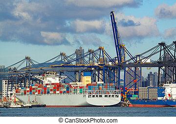 commerce, port maritime, à, grues, cargaisons, et, les, bateau