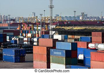 commerce, port, mer