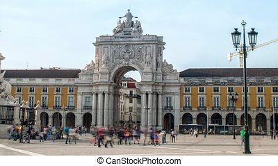 Commerce Square, Ornate triumphal arch or Arco da Rua ...